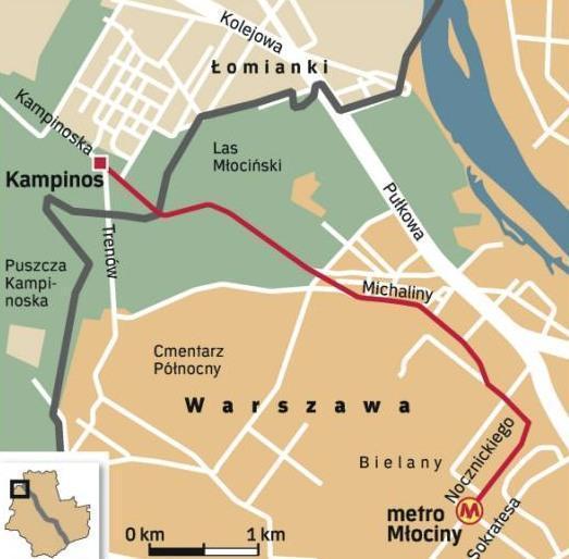 3,5-kilometrowa ścieżka, prowadząca od metra Młociny do Puszczy Kampinoskiej - w planach.