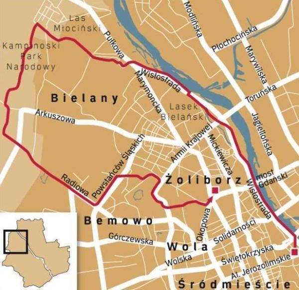 Wyruszamy spod pomnika Syrenki, do mostu Świętokrzyskiego prawym brzegiem Wisły, Mijamy Most Śląsko-Dąbrowski, potem most Gdański. Wzdłuż WybrzeżaGdyńskiego, przejedziemy obok Kępy Potockiej, by dotrzeć do Lasku Bielańskiego. Jadąc wzdłuż ulicy Farysa skręcamy dopiero w ulicę Muzealną, zniej wjeżdżamy Heroldów, a później z Encyklopedyczną. Celem staje się Las MŁociński i ulica Kampinoska, Kampinos a następnie Laski i Kalinowa Łąka. W drodze powortnej miniemy bemowskie lotnisko, ulicę Powstańców Śląskich i dotrzemy do Fortu Bema oraz Lasku na Kole. Aleją Tysiąclecia dojeżdżamy do Muzułamńskiego Cmentarza Tatarskiego a stamąd do Ronda