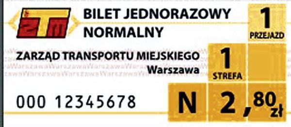 Bilet jednorazowy normalny, strefa 1. (dawna miejska)