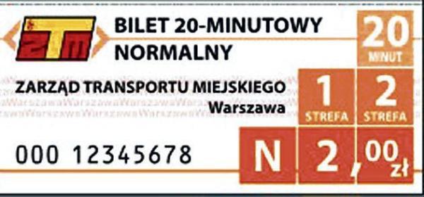 Bilet 20-minutowy normalny, dla obu stref