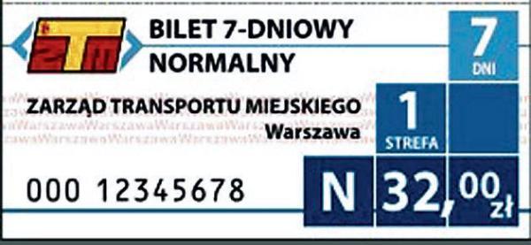 Bilet 7-dniowy normalny, strefa 1