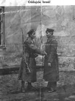 Plakat Saryusza Wolskiego z listopada 1918 roku, nawołujący do oddawania broni przez Niemców/ Narodowe Archiwum Cyfrowe