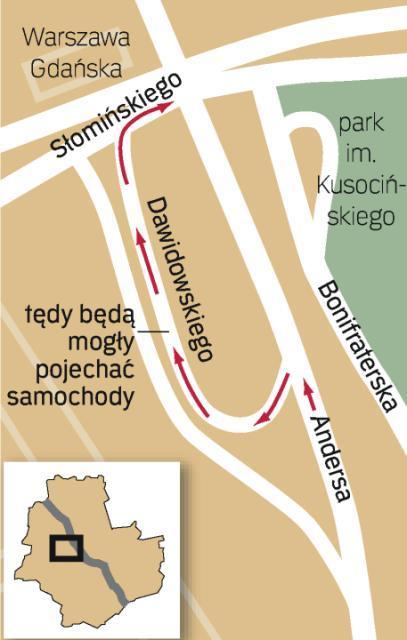 Ul. Dawidowskiego będzie można wreszcie zjechać z Andersa w ul. Słomińskiego. Kierowcy, którzy chcą dostać się z centrum na Pragę, nie będą musieli stać w korkach.