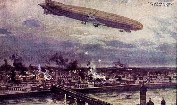 *Pocztówka z epoki mająca poprawić pruskie samopoczucie – bomby lecą na Warszawę – jak to wyobrażał sobie niemiecki rysownik