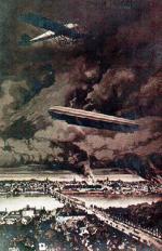 *Warszawa w ogniu po bombardowaniu z zeppelina (w rzeczywistości dużych pożarów nie odnotowano). Na pocztówce widać aeroplan, ale to już fantazja; niemieckie samoloty nie wspierały sterowców, a rosyjskie ich nie atakowały