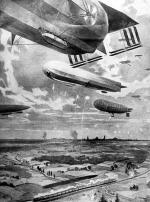 *Gloryfikacja cesarskich sił powietrznych. Zeppeliny wszystkich typów atakują wycofujące się rosyjskie wojska na wschód od miasta. W tle wieże Warszawy. Warto zwrócić uwagę na gondolę największego statku powietrznego – jeden z żołnierzy rzuca ręką bombę na pociąg.