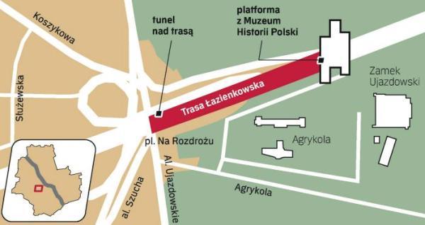 Trasa Łazienkowska od placu Na Rozdrożu do zamku zostanie przykryta. Na końcu tunelu stanie Muzeum Historii Polski. Jest  to drugi w Warszawie obiekt, który wyrasta nad ruchliwą arterią. Pierwszym jest Centrum Nauki Kopernik nad Wisłostradą.