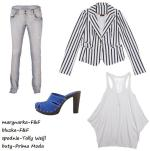 Lubisz minimalizm, ale gdy zaczyna się wiosna myślisz o ożywieniu swojej szafy kolorami? Jaki zestaw będzie dla Ciebie idealny? Chabrowy idealnie współgra z jasnymi dżinsami i marynarką w paski. Buty są numerem jeden tego stroju. Krzyczą i zwracają na siebie uwagę!