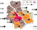 W pierwszym półroczu policja odnotowała w Warszawie 489 wypadków drogowych, zginęło w nich 19 osób, a 574 zostały ranne. Najczęściej do wypadków dochodziło w Śródmieściu, na Mokotowie, Ochocie i Pradze-Południe. Najbezpieczniej było w Rembertowie.