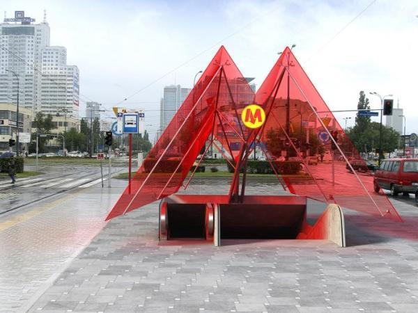 Wizualizacja wyjścia z planowanej stacji metra