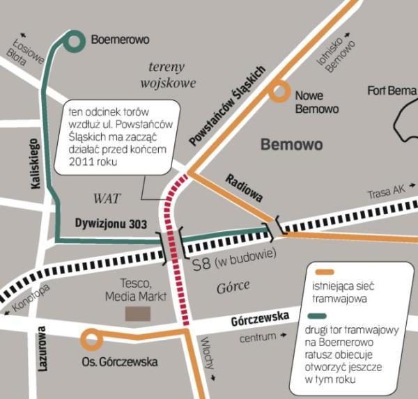 """inwestycje tramwajowe na bemowie: Nowa trasa połączy północ i południe dzielnicy nad trasą S8. Z Bemowa da się dojechać tramwajem na Bielany, Żoliborz, Mokotów i Wolę. Mieszkańcy Boernerowa przesiądą się z """"dwudziestki"""" na skrzyżowaniu linii."""