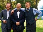Adam Gessler  (w środku) razem  z synami  podczas prezentacji jesiennej oferty TVP