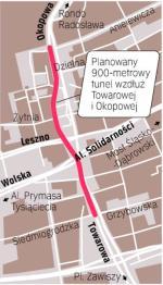 Samochody miałyby zjeżdżać sześć metrów pod ziemię na odcinku między Anielewicza a Grzybowską. Tonące codziennie w korkach ulice Towarowa i Okopowa to fragment tzw. obwodnicy Śródmieścia.