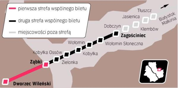 Do Ząbek dojeżdżamy ze wspólnym biletem w ramach pierwszej strefy. Zielonka, Kobyłka i Wołomin są w droższej strefie drugiej. Walczą o obniżenie kosztów, grożąc wycofaniem się z biletu. Bilet miałbyć wydłużony do Tłuszcza, ale ten też się waha.