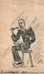"""Wojna przyniosła wiele nieszczęść, w tym pobyt w Auschwitz (karykatura  autorstwa Jachniny), ale także autorstwo okupacyjnego """"przeboju""""."""