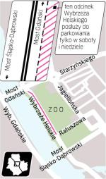 Szerokość jezdni ta sama, ale przybył pas. W stronę mostu Gdańskiego poprowadzą dwa. Prawy posłuży do parkowania.