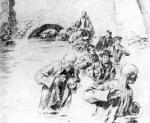 *Anonimowy  rysunek dotyczący rewolucji 1905 r. – ucieczka więźniów z fortów cytadeli ku Wiśle. Ludzie zamieszani w porwanie generała podobno brali w niej udział, tak więc w 1927 r. znali te lochy!