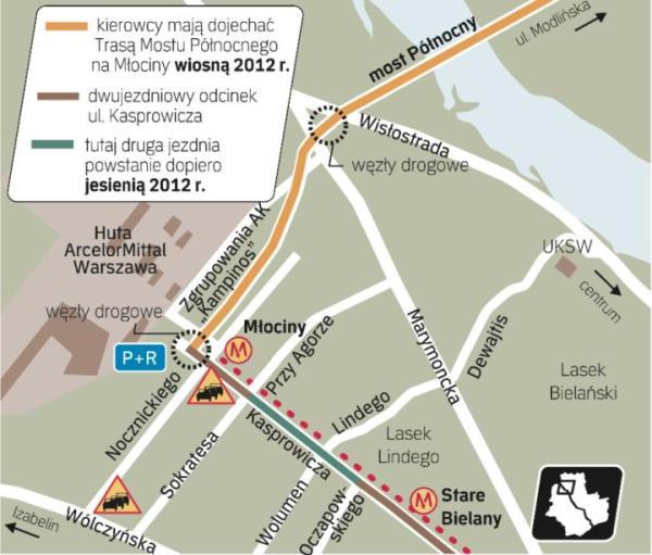 Nad stacją metra Wawrzyszew znajduje się jedyny wąski odcinek ul. Kasprowicza. Od przyszłego roku kierowcy utkną tutaj w korku. Władzom miasta nie udało się skoordynować poszerzenia 800-metrowego odcinka z budową Trasy Mostu Północnego.
