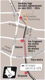 Od 1997 r. powstał odcinek  z Kabat do al. Wilanowskiej. Brakuje jeszcze tylko łącznika z Domaniewską.