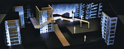 """Projekt  scenografii """"Kolędy-Nocki"""" (autor: Grzegorz Policiński, rendery: Jarosław Minkowicz z wykorzystaniem wizuali Łukasza Koseli"""