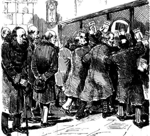 """Spłacanie procentów  w roku 1885. To satyryczny rysunek  z """"Muchy"""", przedstawiający emerytów pod okienkiem bankowym. Podpis: """"Miesięczne karmienie wężów odmiany  Lich - wiarz"""""""