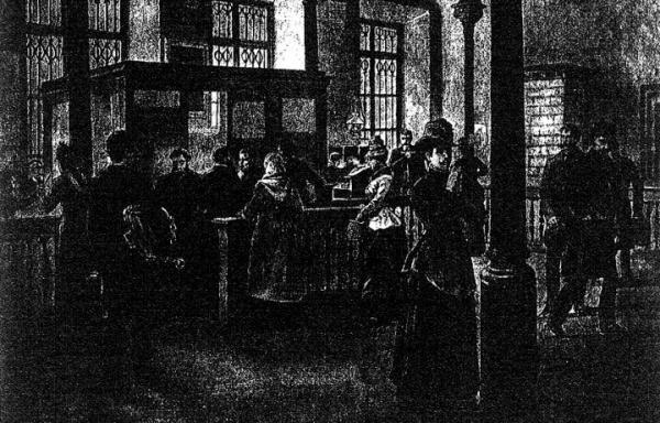 Sala warszawskiego lombardu miejskiego przed 130 laty – gazetowy rysunek ciemny, tak jak  i okoliczności zmuszające ludzi do pożyczania pod zastaw.
