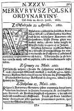 Rok 1661. Pierwsza gazeta wydawana w Warszawie