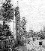 Kościół św. Karola Boromeusza w1870 r. Polewej stronie  –mur, poprawej  –drewniany płot