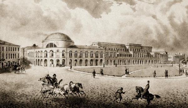Bank Polski w grafice Maurycego Scholtza z 1840 roku. Wzdłuż budynku biegła ul. Rymarska.