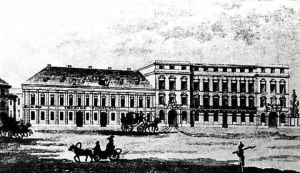 Pałac Teppera w I połowie XIX wieku. Spełniał funkcje hotelowe i handlowe.