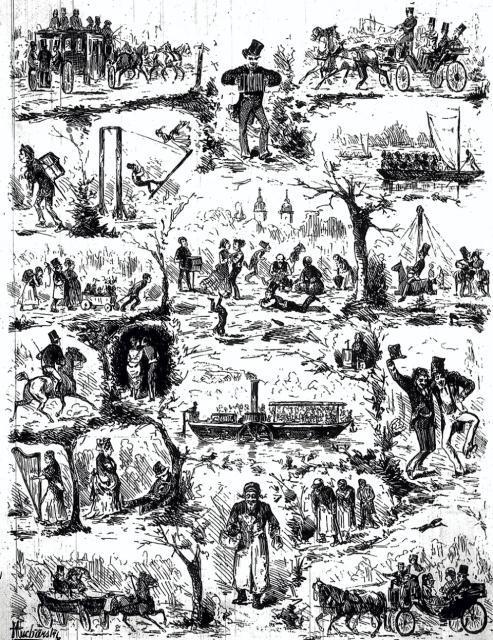 Na poły satyryczny rysunek z roku 1877. Co na nim widzimy? Wszystkie typowe obrazki, w tym nawet rodzaj huśtawek, jakie pozbawiły życia dwóch wycieczkowiczów