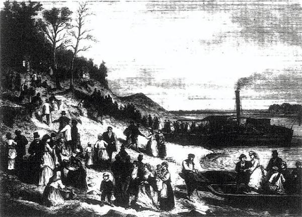 Dobijanie do bielańskiego brzegu przed 130 laty – to rysunek