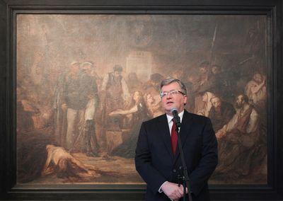 Prezydent Bronisław Komorowski, podczas otwarcia wystawy