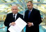 Prezes PiS Jarosław Kaczyński i poseł Jacek Sasin, kandydat PiS na prezydenta stolicy