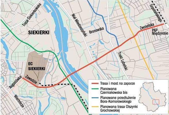 Planowany przebieg mostu