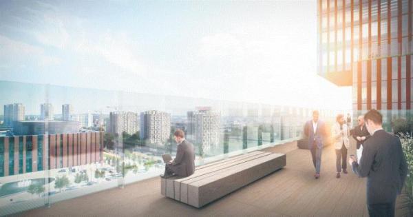 Katowicki biurowiec KTW – widok z tarasu. Inwestycję prowadzi spółka TDJ Estate, znana z budowy mieszkań.