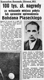 Nawet wysoka nagroda nie pomogła w odnalezieniu żywego Bohdana Piaseckiego.