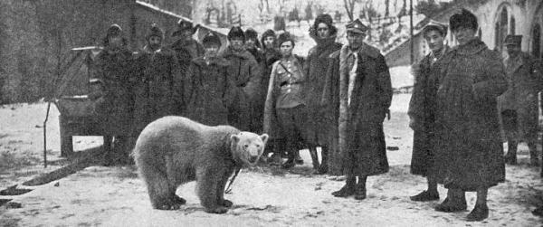 """Baśka z Murmańczykami w 1919 r. (zdjęcie autorstwa Saryusza-Wolskiego z """"Tygodnika Ilustrowanego"""" z 1.01.1920 r.)"""