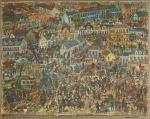 """Edward Dwurnik, """"Moje wieczory – Grochów"""", 130 na 165 cm, 1966 r."""