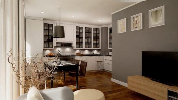Otwarty aneks kuchenny będzie mógł się znajdować także w kawalerkach – na zdjęciu wnętrze mieszkania na osiedlu Murapol Garbarnia w Krakowie.