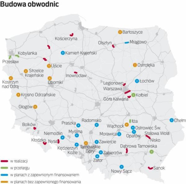 Coraz więcej polskich miast omija już ruch tranzytowy