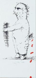 """""""Z urwanym ogonem"""" to grafika Eugeniusza Geta-Stankiewicza."""