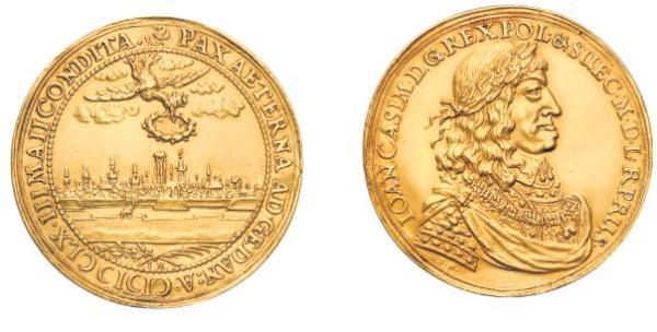 Moneta króla Jana Kazimierza ma cenę 150 tys. zł, przedstawia panoramę Gdańska