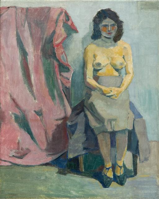 """Andrzej Wróblewski, """"Żółty półakt mały"""", 1955 r., olej/płótno, 51,5 x 41 cm."""