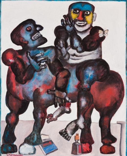 """Eugeniusz Markowski, """"1+1"""", olej, płótno, 100 x 80 cm, 1974 r."""