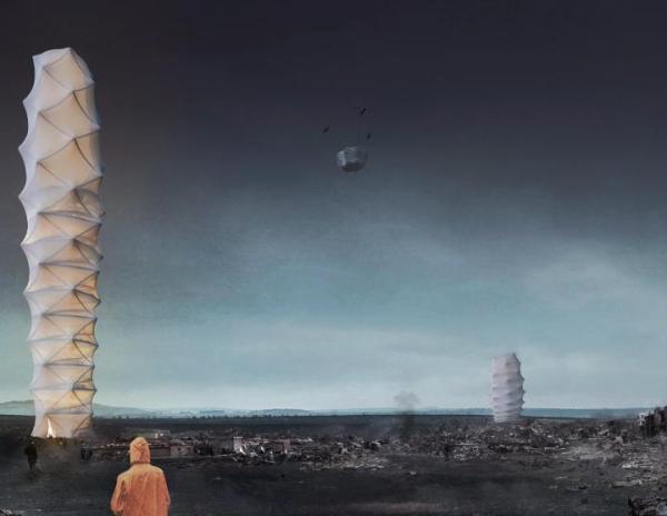 Skyshelter.zip to składany drapacz chmur, który można rozłożyć nawet na niestabilnym gruncie w miejscu katastrofy.